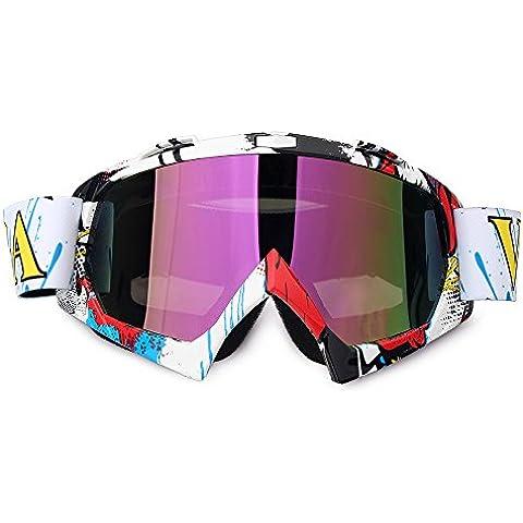 Fodsport Gafas de moto Gafas crossed Gafas ciclismo Gafas Protección Mascara para Moto Motocross Esqui Deporte Ajustable (Multicolor A)