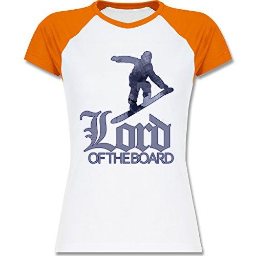 Wintersport - Lord of the board - zweifarbiges Baseballshirt / Raglan T-Shirt für Damen Weiß/Orange