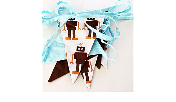 Blafre Robot Fabric Bunting White//Brown//Blue