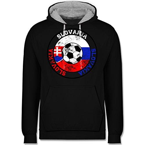 Fußball - Slovakia Kreis & Fußball Vintage - Kontrast Hoodie Schwarz/Grau  Meliert