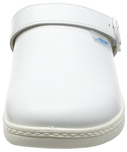 Abeba Sabot Cuir lisse avec réglable Sangle de talon en noir & blanc Blanc