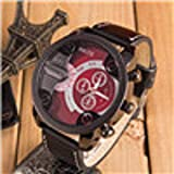 HOT, Luxury Mens Analog Sport Steel Case Quartz Leather Wrist Watch Red By YANG-YI