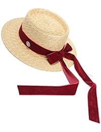Lieyliso Cappello da Donna Velluto Lungo Fiocco Cappello di Paglia di Grano Cappello  da Visiera da Sole (Color   Red… 3e8be2022d4b