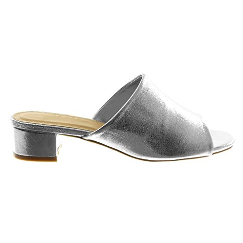 Angkorly Scarpe Moda Sandali Mules Slip-On Donna Tacco a Blocco Alto 4 cm Argento