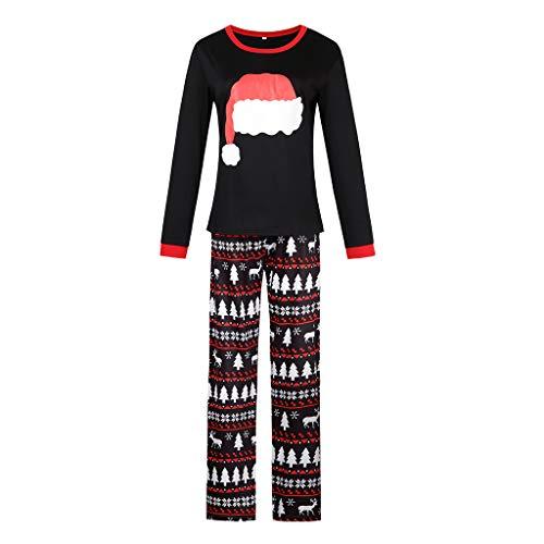 Familie passende Schlafanzug Kleidung, Weihnachten Santa Hut Jungen Mädchen Männer Frauen Weihnachten Pyjamas Passende Top + Hosen Nachtwäsche Mom L