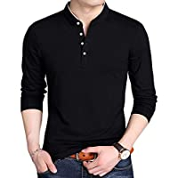 YTD Men's Casual Slim Fit Pure Color Long Sleeve Polo Fashion T-Shirts (US Medium, Long Sleeve Black)