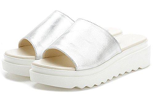 Sommer Sandalen dicke Kruste Muffin einfache und bequeme Sandalen und Pantoffeln Freizeitschuhe Student Silver