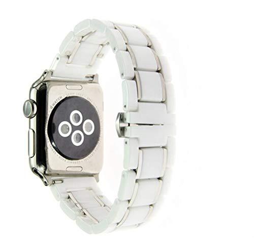 QIONGQIONG Iwatch Apple Strap 20Mm/22Mm/24Mm Keramik Armband Armband Ersatz Für Office Party Oder Zuhause Schwarz und Weiß,Whitesilver,24Mm