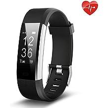 Juboury ID115P blk de, Fitness Tracker,Juboury Smart Bracelet mit Pulsmesser Herzfrequenzmesser,Aktivitätstracker,Schrittzähler,SchlafMonitor,Kalorienzähler Fitness Uhr für Android und IOS Smartphones(Schwarz)