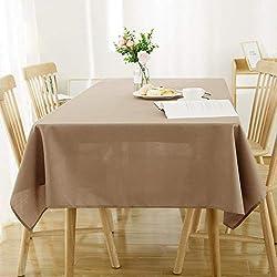 Deconovo Nappe Rectangulaire Exterieur Effet Lin Imperméable pour Table 130x160cm Taupe