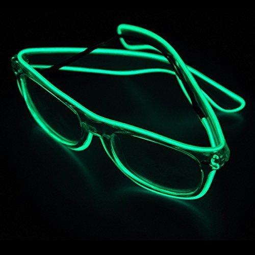 Dewel Gafas Luz LED Gafas Luz de Neón Alambre Gafas Luminosas para Halloween Navidad Festivales (Verde)