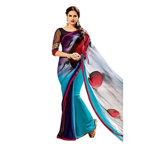 Craftsvilla Women's Georgette Printed Designer Multicolor Saree with Blouse Piece