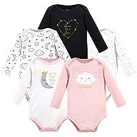 Hudson Baby Unisex Baby Cotton Long-Sleeve Bodysuits, Dreamer, 3-6 Months