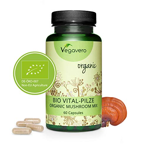 Reishi MIX Orgánico Vegavero® | Extractos de Cordyceps + Melena de León + Shiitake + Oreja de Judas | 60 Cápsulas | Energía + Ansiedad + Defensas | Vegano