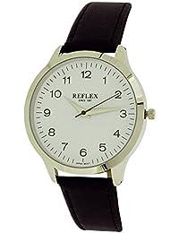 Montre Reflex Homme avec Cadran Blanc Analogique à Quartz et Bracelet Noir