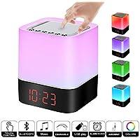 Lámpara de noche Altavoz Bluetooth Sensor Táctil, Luz LED de Noche de Color Regulable,
