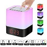 Drahtloser Bluetooth-Lautsprecher mit Touch-Control-Nachttischlampe, Wecker, MP3-Player, Multi-Color-Nachtlicht, tragbarer Smart-LED-Berührungssensor-Tischlampe Dimmable RGB, All in 1, für Kinder