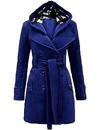 Invierno Mujer Abrigo Casual con Capucha Chaqueta Capa Outwear Parka con Cinturón