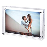TRIXES Magnetic Acrylic Photo Frame- 6 x 4in - Double sided Display Block - Clear Transparent-2cm thickness