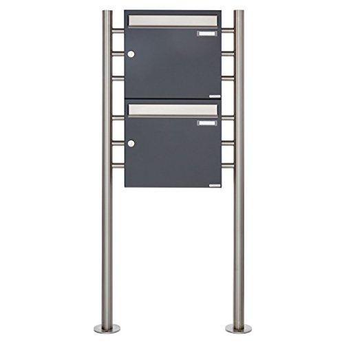 2er Standbriefkasten - 2 fach Briefkastenanlage Design BASIC 381 - Briefkasten Manufaktur Lippe (2 Parteien, senkrecht, Edelstahl / RAL 7016 anthrazitgrau feinstruktur matt)