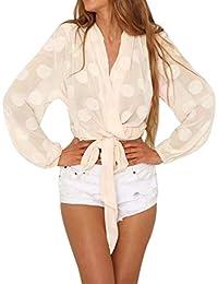 Blusa de Mujer, BaZhaHei, Blusas de punto con cuello en V para mujer Blusa
