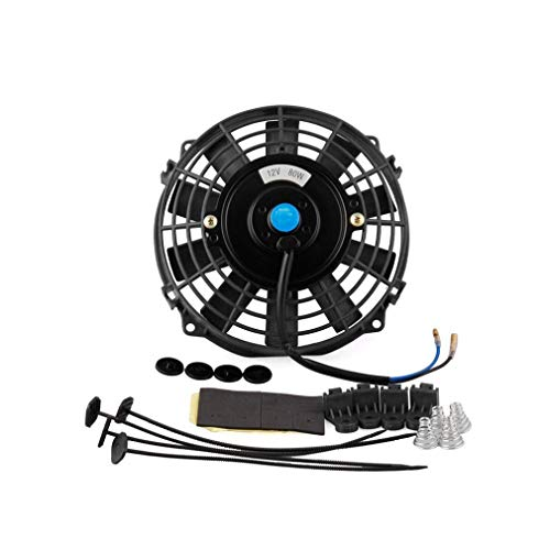 Schwarz Electric Fan (JMT-0825 Für 7 Zoll 12V Slim Radiator Cooling Thermo Electric Fan & Mounting Kit Schwarz)
