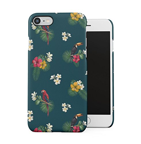 Papagei Birds Tropic Exotic Blume Aloha Pattern Print Dünne Handy Schutzhülle Hardcase Aus Hartplastik Hülle für iPhone 7/iPhone 8 Handyhülle Case Cover