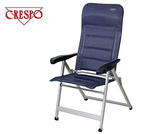 Chaise pliante avec fUSSAUFLAGE sTABIELO de camping avec dossier haut en aluminium-chaise - 5,8 kg, facile-fishbone bleu charge max. : 120 kg-hOLLY sunshade contre supplément disponible avec hOLLY fÄCHERSCHIRMEN-hOLLY ® produits sTABIELO-innovation fabriqué en allemagne