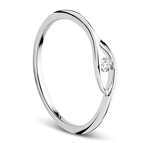 Orovi Ring für Damen Schmuck Weißgold 9 Karat/ 375 Gold Solitär VerlobungsRing mit Diamant Brillant 0.05 ct (Diamant-gold-ring Saphir-und)
