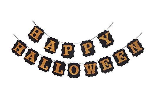 Kürbis-Banner aus Jute, 182 cm, handgefertigt, Halloween-Dekoration, Girlande mit 9 glitzernden Kürbis für Party-Dekoration. happy halloween Schwarz/goldfarben