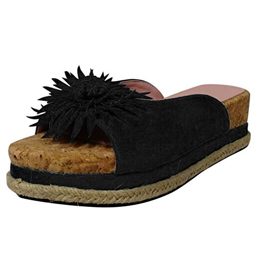 Dorical Damen Roman Slippers Espadrilles Frauen Daisy Übergrößen Flandell Wedge Peep-Toe Hausschuhe Comfort Schuhe Für Casual Strand Outdoor Garten(Z01-Schwarz,42 EU)