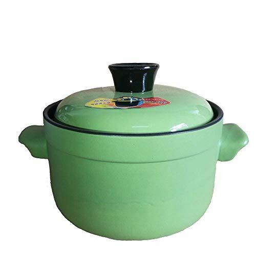 Jstyal968 Yalztc-zyq16 Jingdezhen Ceramic Casserole Health Sopa de Olla de 2.5L Capacidad de Alta Temperatura Sopa de Olla Sopa de Olla Estofado de cazuela Porcelana Calor (Color : Green)