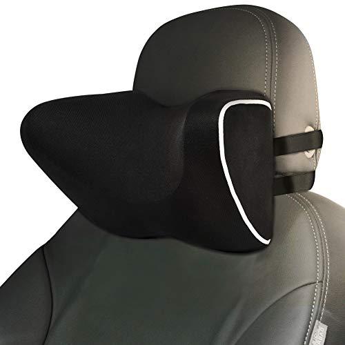 Auto Nackenkissen, Ymiko Nackenstütze Nackenkissen für Auto Kopfstütze, Gemacht mit Memory Schaum und atmungsaktives mesh, Kissen Atmungsaktiv-Schwarz