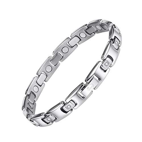 Jeroot Magnetarmband,Damen Gesundheit Magnetarmband Magnetische Armbänder für Arthritis Verschluss Armband Magnet Gesundheit Magnetarmband Energetix (Silver)