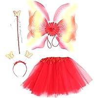 Amosfun Fee Prinzessin Kostüm Set Tutu Rock Rabinbow Glitter Flügel Schmetterling Zauberstab Stirnband Kinder Leistung Kostüm