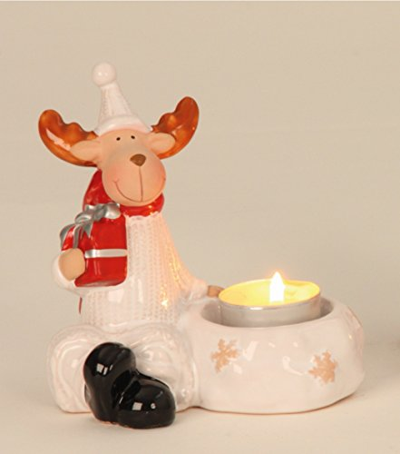 KLP Elch mit Teelichthalter Hirsch Rentier Keramik Deko Tier Figur Weihnachtsdeko -