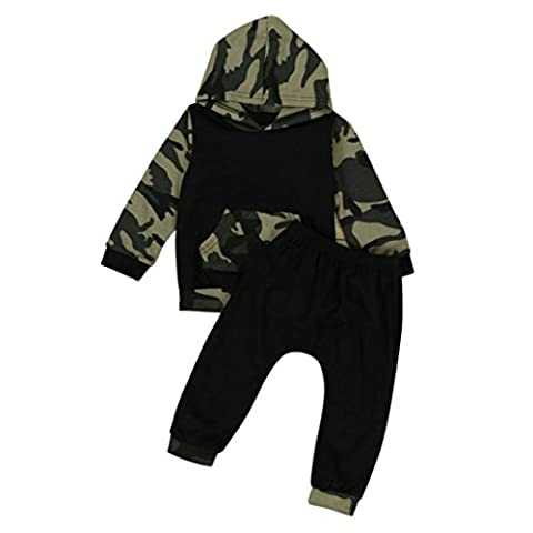 Igemy Camouflage Baby Boys Toddler Hooded Tops +Long Pants Set