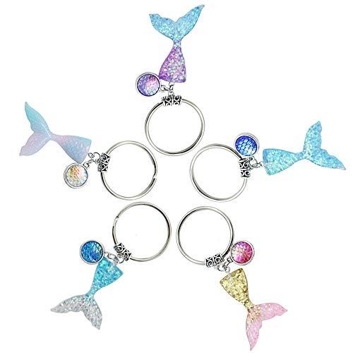 CAILI 5 pcs Legierung Schlüsselanhänger, Meerjungfrau Schlüsselanhänger, Stilvolle Farbverlauf Fischschwanz Schlüsselanhänger, Schöne Fischschuppe Schlüsselanhänger (fünf Farben)