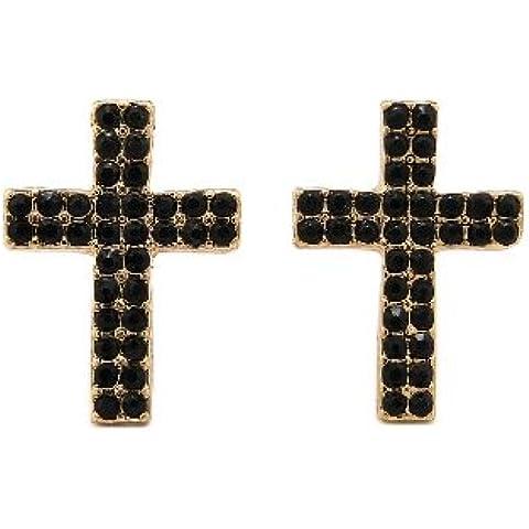 Doppia fila Jet pietra orecchini a lobo a forma di croce in oro