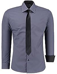 JEEL Pour Homme Chemise Casual Manche Longue Slim Fit Cravate Noire S-6XL