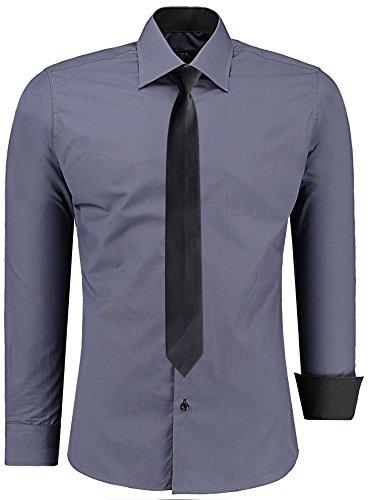 J'S FASHION Herren-Hemd – Slim Fit – Bügelleicht – Business Freizeit Hochzeit Anthrazit - S - Krawatte