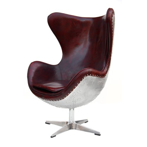 Phoenixarts Echtleder Vintage Alu Sessel retro Ledersessel Braun Drehsessel Schwingsessel Design Lounge Clubsessel Sofa Möbel 438