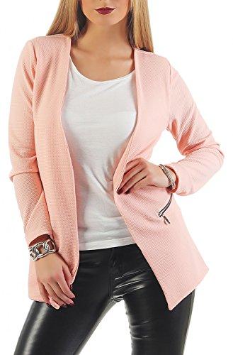Damen lang Blazer mit Taschen ( 501 ), Farbe:Rosa, Blazer 1:36 / S (Rosa Damen Jacke)
