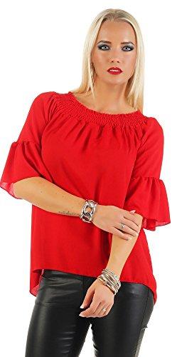 Mr. Shine® – Damen Oberteil Festlich Chiffon Bluse Batwing Elegant Shirt Kurzarm Große Größen S, M, L, XL, XXL, XXXL (S, Rot) (S/s Bluse Aus Seide)