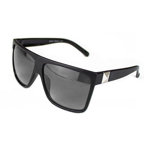 Man9Han1Qxi Kunststoff Unisex Vintage großen quadratischen Rahmen Flat Top Outdoor Sonnenbrille Paar Geschenk Sonnenschirm Gläser Black