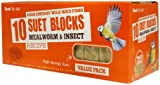 Suet To Go Suet Blocks Value Pack Of 10 - 4 Varieties available - High Energy Food For Wild Birds (Mealworm & Insect)