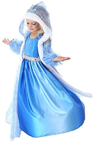 MissFox Mädchen-Kostüm, Design Prinzessin Elsa, Kleid, Cosplay FTZM Altezza 140CM(Busto 25.74inches)