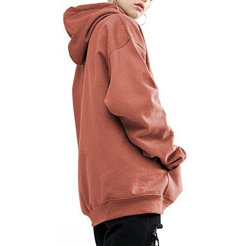 Sweat-shirt à capuche oversize pour dames - hibote Sweat à capuche Sweat-shirt slim midi Décontracté Sweats à capuche Longs pardessus Sportwear Noir Rouge Vert Marron M-5XL Marron