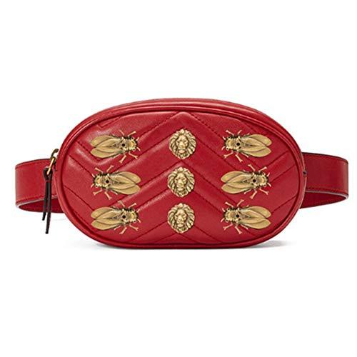 HAOLIEQUAN Taille Tasche Frauen Nieten Taille Gürteltasche Taschen Luxus Mode Samt Leder Brust Gürtel Handtasche Rot Schwarz, Rot -