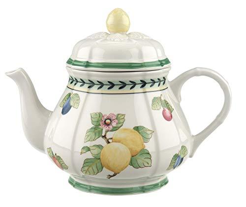 Villeroy & Boch French Garden Fleurence Teekanne, 1 Liter, Premium Porzellan, Weiß/Bunt Garden Teekanne